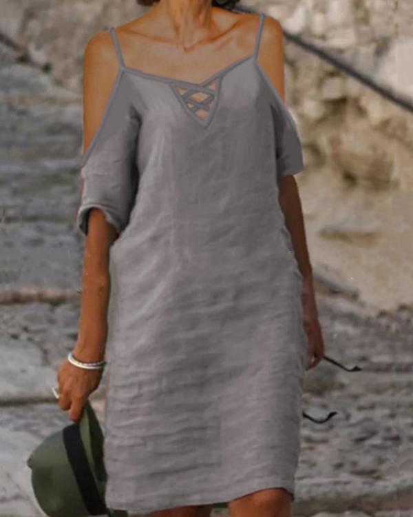 Solid Plus Size Sexy Off Shoulder V Neck Shift Dress