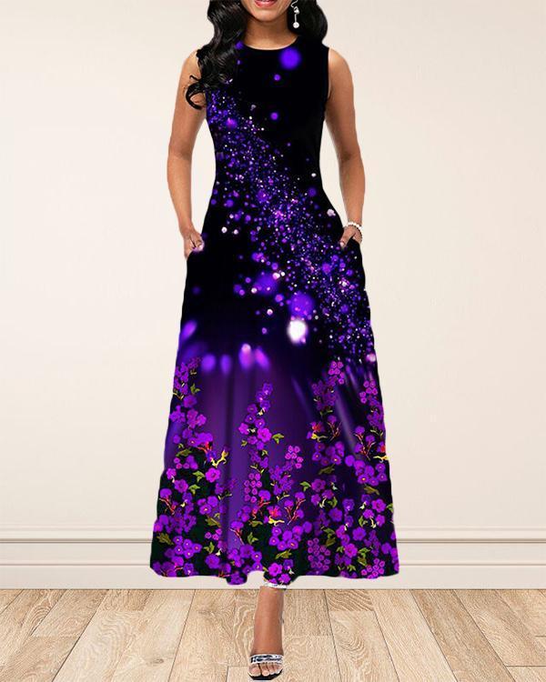 Pastoral Sleeveless Fashion Simple Printed Dress