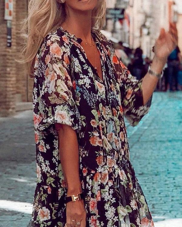 Women V-neck Tie Print Dress
