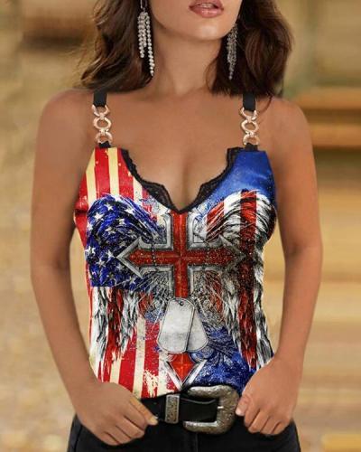 Retro Flag Graphic Sling Women Slim Vest Designer