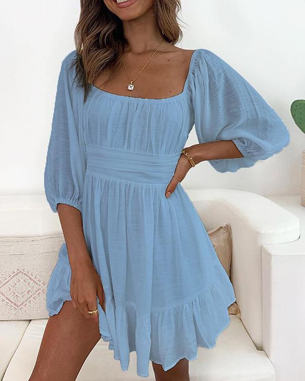 Half Sleeve Highwaist Square neck Women Linen Dresses Ruffle Mini Dress