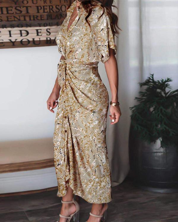 Women Print Satin Pleated Classy Bandage Shirt Dress