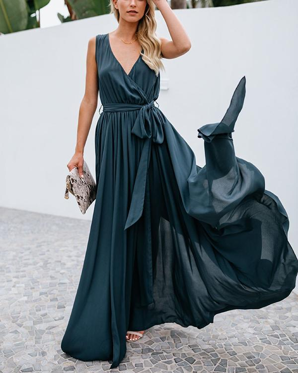 Solid Color V-neck Mid-waist Sleeveless Gown