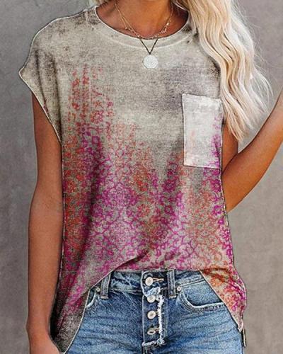 Crew Neck Casual Jacquard Cotton Blend Shirts Tops
