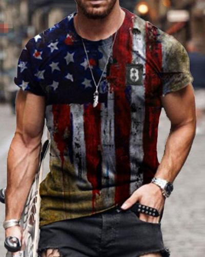 Mens Retro Casual American Flag Short Sleeve T-shirt