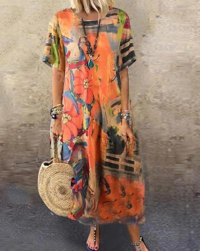 Loose Round Neck Print Short Sleeve Dress