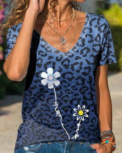 Floral Casual Short Sleeve Shift Shirts & Tops