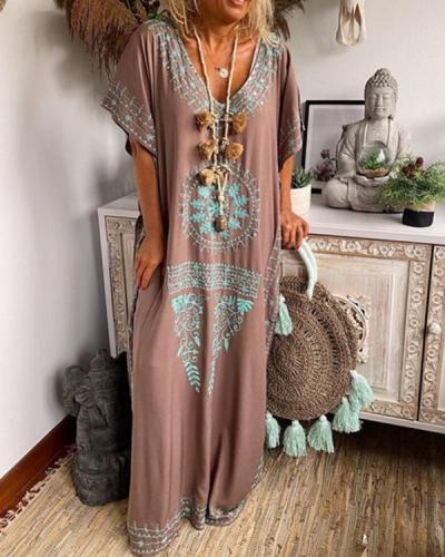 Retro Geometric Pattern Split Hem Loose Maxi Dress