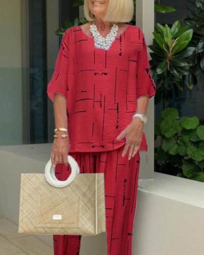 Printing Casual Two-piece 3/4 Length Pants Suits