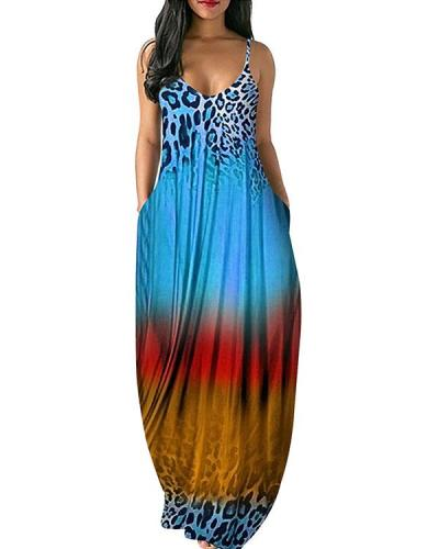 Plus Size Leopard Tie Dye Printed Sexy V Neck Sling Dress