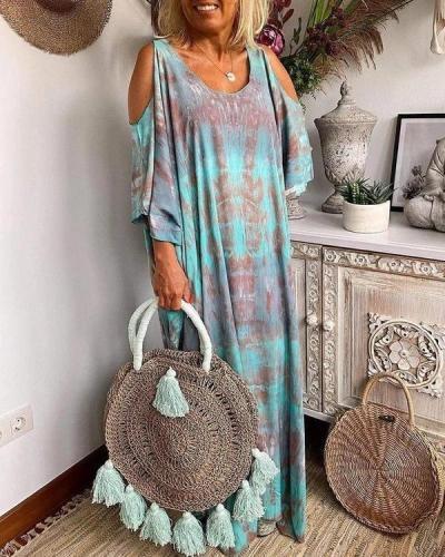 Tie-Dye Multi-Colored Print Cold-Shoulder Loose Maxi Dress