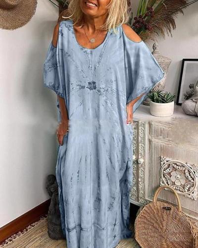 Women's Loose Maxi long Dress Cold Shoulder Dress