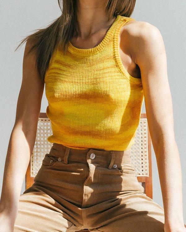 Color Woolen Camisole Sleeveless Crop Top