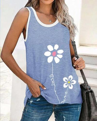 Casual Floral Sleeveless Vests