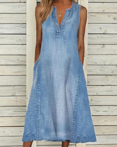 Denim Casual V Neck Sleeveless Midi Dresses