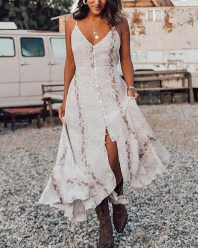 Ruffle Snakeskin Print Slit Bohemian Dresses
