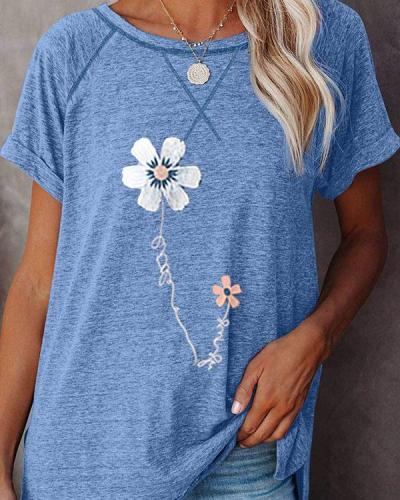 Summer 2021 Flower Printed Short-sleeved Round Neck T-shirt