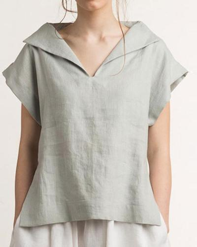 Simple Loose Fit V-Neck Top