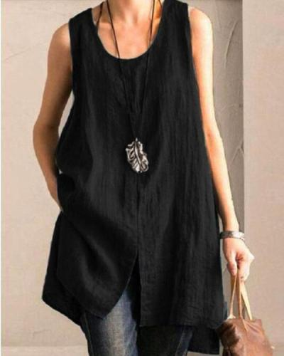 Solid Casual Sleeveless Slit High Low Blouse