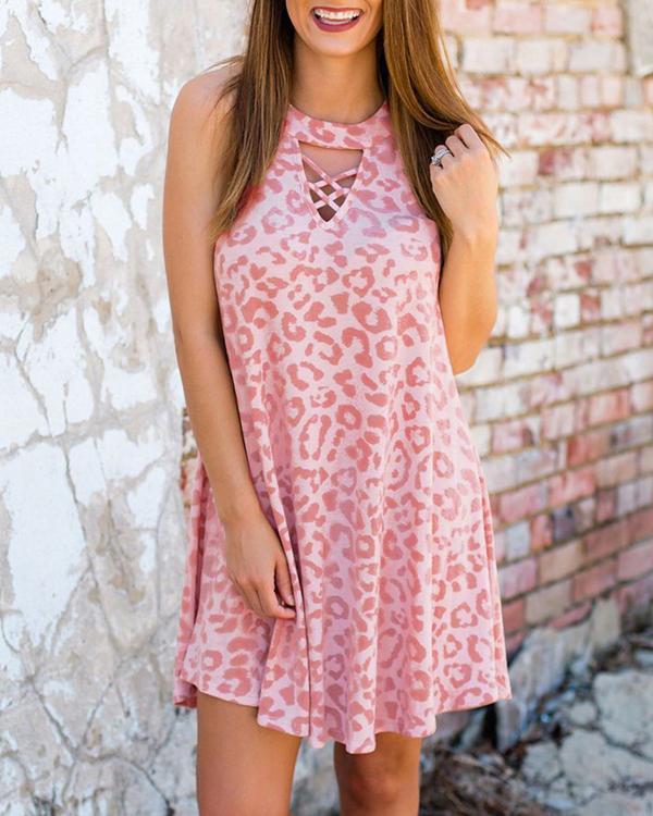 Pink Leopard Sleeveless Mini Dress