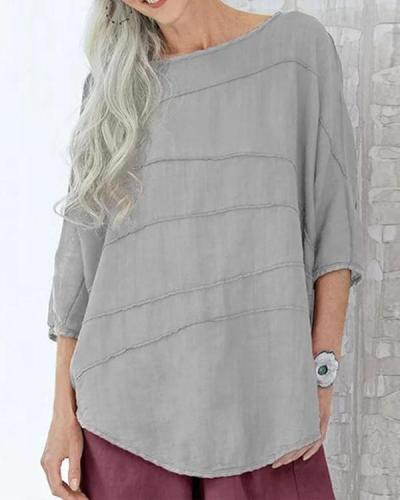 Women's Striped Shirt Bat Sleeve Casual Top