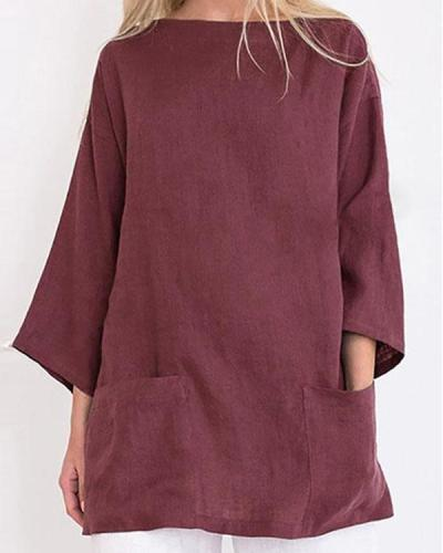 Ladies Solid Color Casual Round Neck Cotton and Linen T-shirt