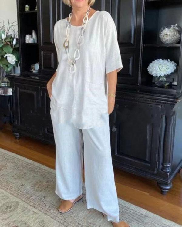 Solid Color Cotton Casual Half Sleeve Two-piece Pants Suits