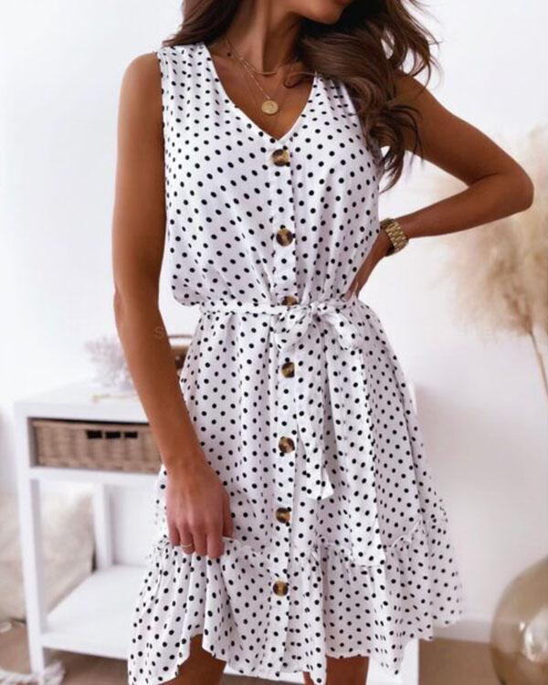 Cute Polka Dot Mini Dress V Neck Button Ruffle Dress