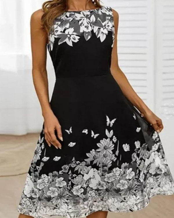 Floral Round Neck Sleeveless Highwaist Midi Dress