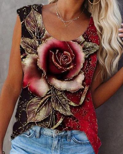 Plus Size Vintage Rose Print Sleeveless Crew Neck Tank Tops
