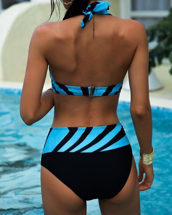 Striped High Waist Print Halter Neckline V-neck Swimsuits