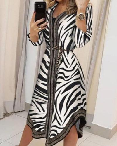 Women Zebra Midi Dress Bandage Shirt Dress