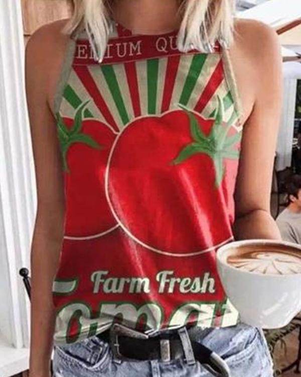 Fruit Print Round Neck Tank Top