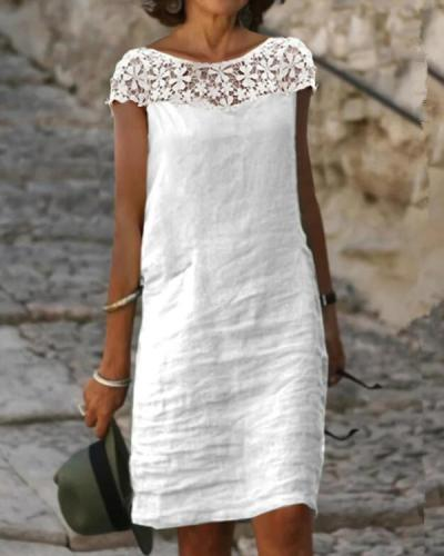 Lace / Solid Shift Knee-Length Casual Dresses
