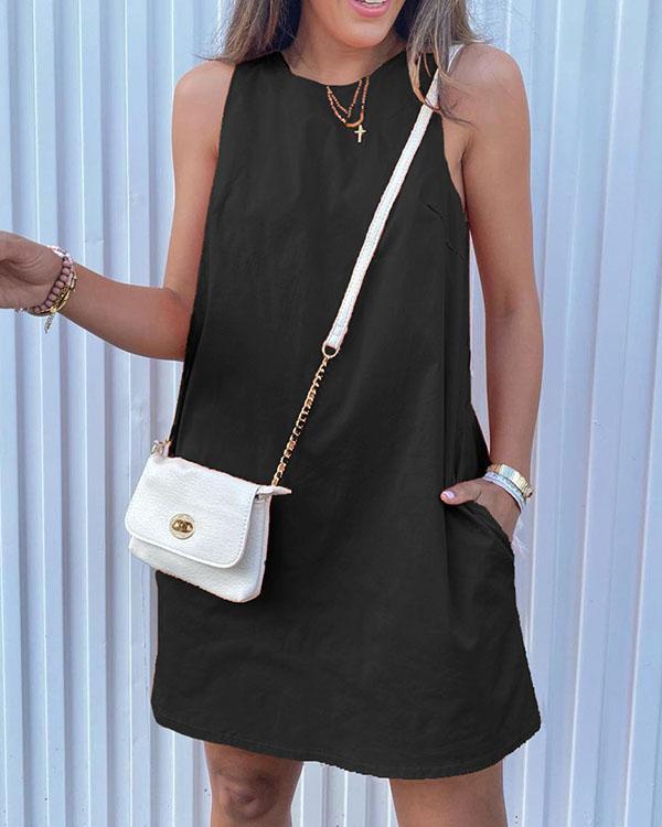 Solid Pocket Casual Sleeveless Mini Dresses
