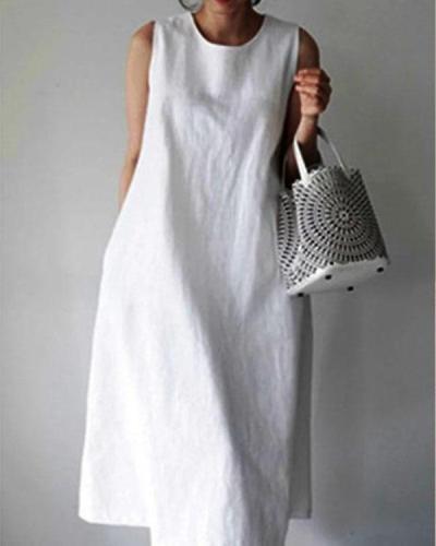 Casual Sleeveless Midi Dress Simple Linen Dresses