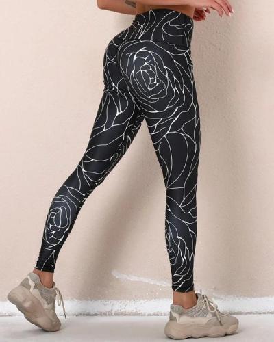 Abstract Patterns Print High Elastic Active Pants leggings