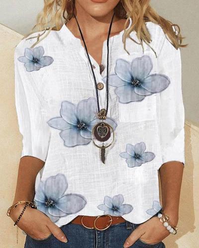 Fashion Floral V-Neckline Pocket Shift Blouses