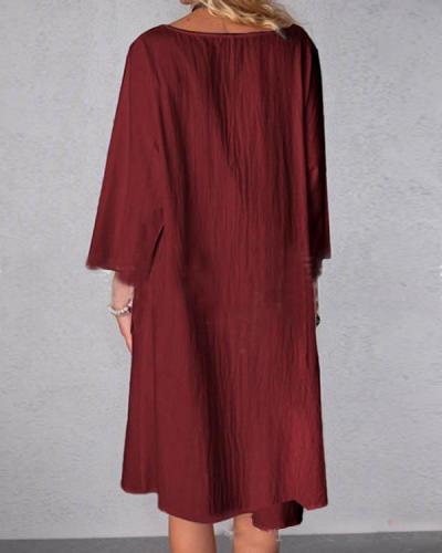 Plus Size 3/4 Sleeve Solid Pocket Casual V Neck Linen Dresses