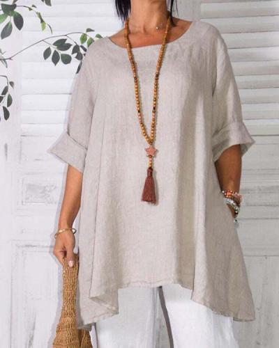 Plus Size Easy-going A-Line Half Sleeve Cotton Top