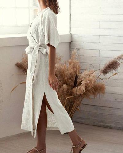 Pure Color V-Neck Slit Cotton Linen Half Sleeve Dress