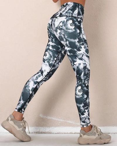 All Over Print High Waist Skinny Sport Yoga Pants Leggings