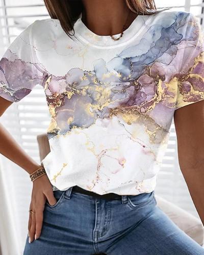 Turtleneck Smudge Print Simple T-shirt