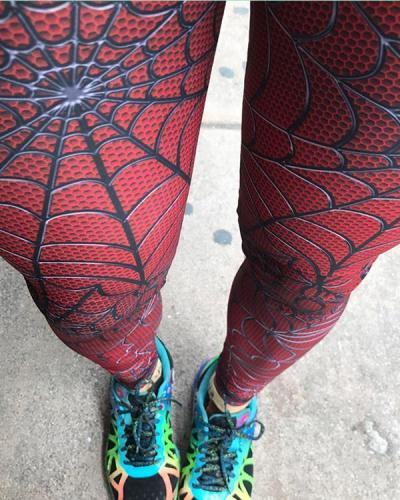 Mid-Waist Spiderweb Fitness Legging Yoga Pants