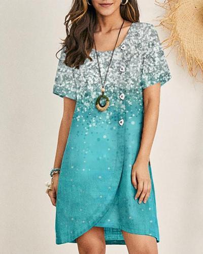 Womens Printed Round Neck Short Sleeve Dress