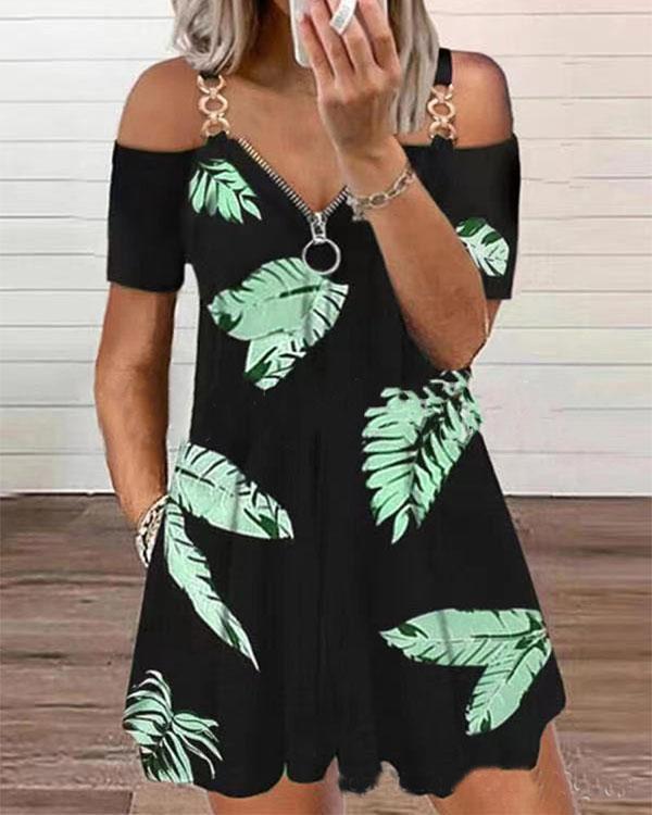 Leaves Print Off Shoulder Casual Tunic Mini Dresses