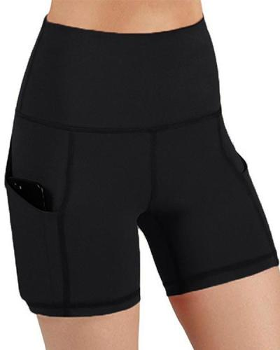 Solid High Waist Pocket Yoga Shorts