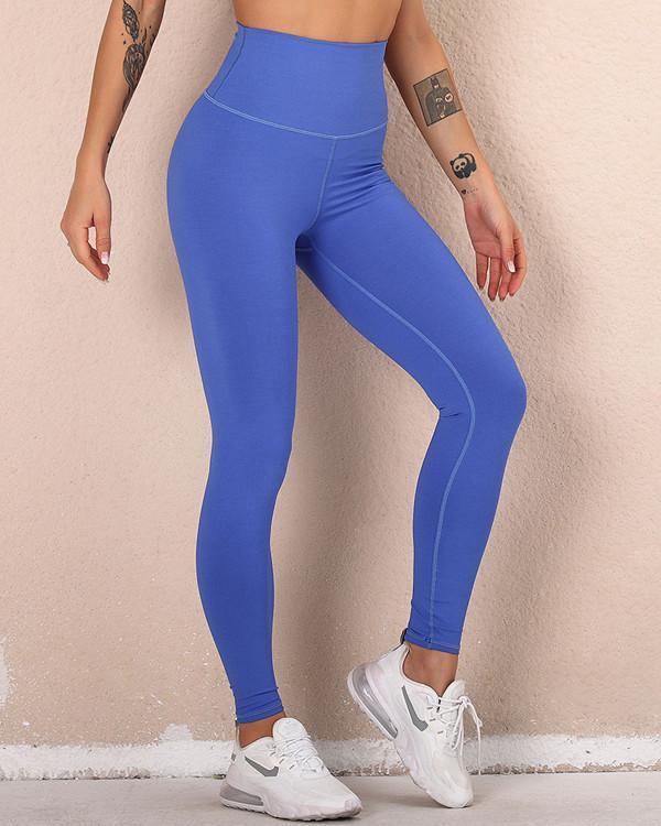 High Waist Pure Color Hip Up Leggings