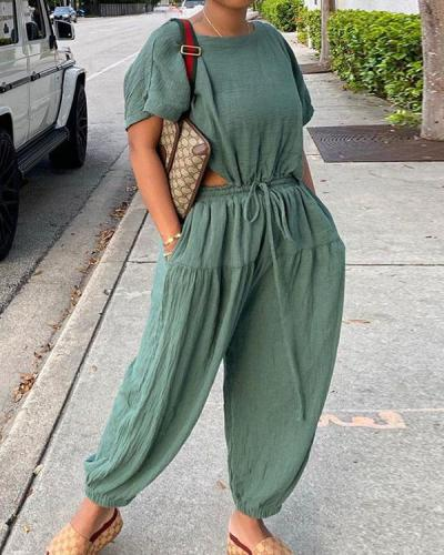 Simple Casual Loose Linen Pants Set with Drawstring