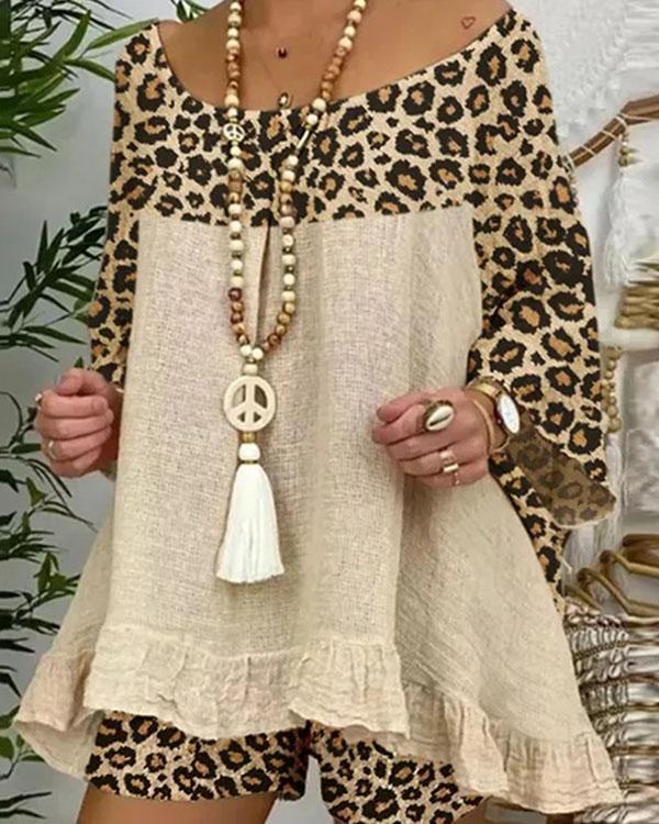 Plus Size Linen Cotton Leopard Patchwork Ruffle Blouse Shorts Set